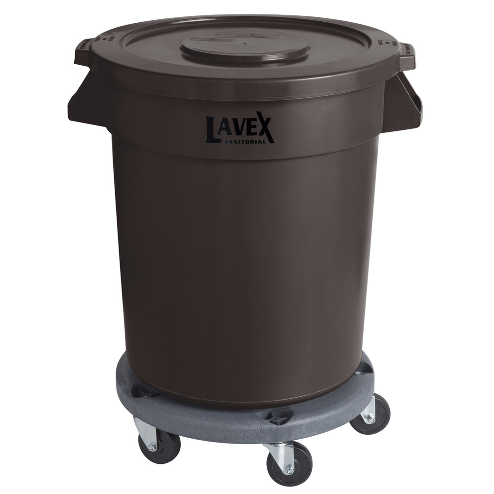 Lavex Janitorial 20 Gallon Brown Round Commercial Trash