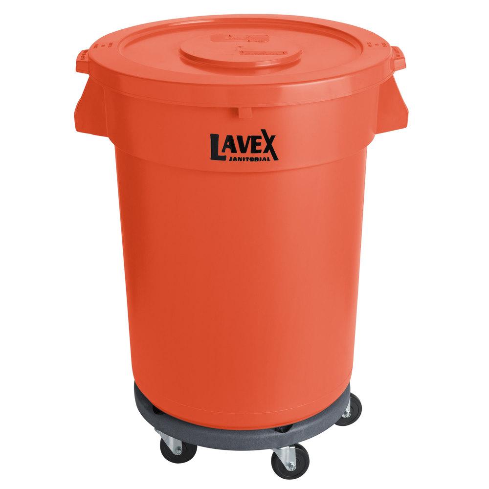 Lavex Janitorial 32 Gallon Orange Round Commercial Trash