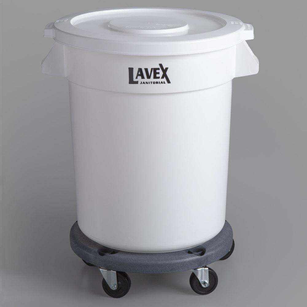 Lavex Janitorial 20 Gallon White Round Ingredient Bin