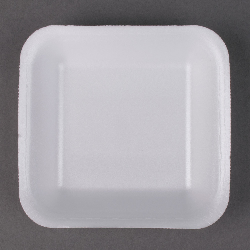 "Genpak 1001 (#1) White 5 1/4"" x 5 1/4"" x 1"" Foam Supermarket Tray - 1000/Case"