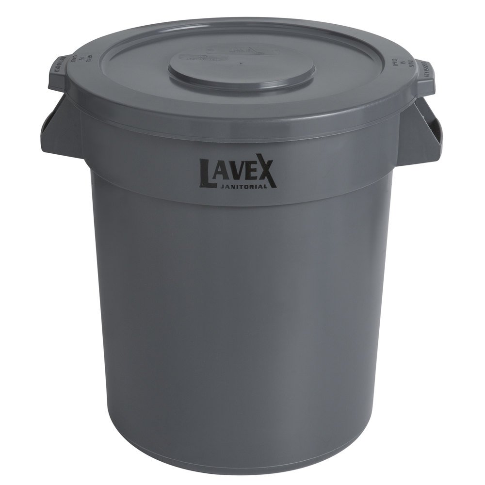Lavex Janitorial 20 Gallon Gray Round Commercial Trash Can