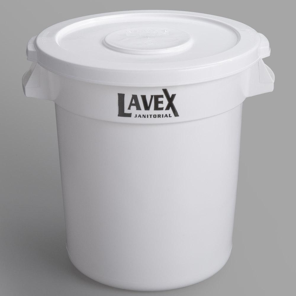 Lavex Janitorial 10 Gallon White Round Ingredient Bin