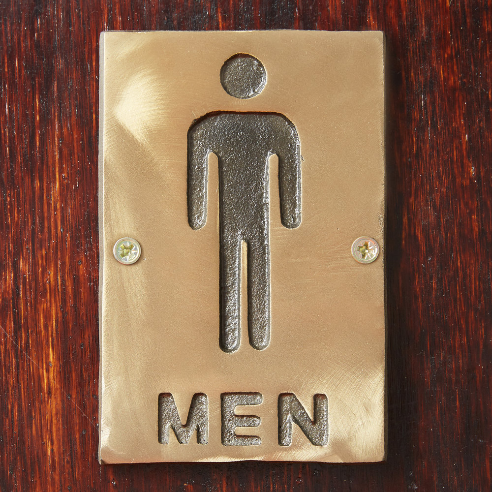 "Tablecraft 465635 6"" x 4"" Bronze Men Sign"