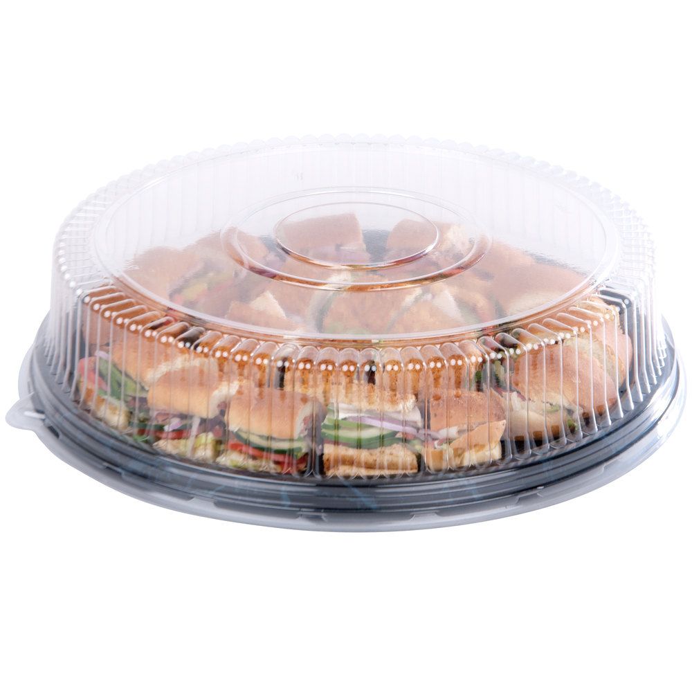 "Sabert 5518 18"" Clear Dome Lid for Round Catering Tray - 36/Case"