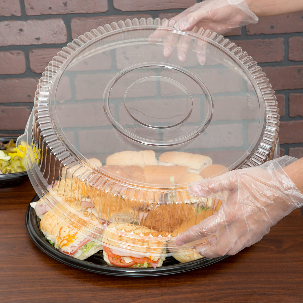 "Sabert 5518 18"" Clear Plastic Round High Dome Lid - 36/Case"