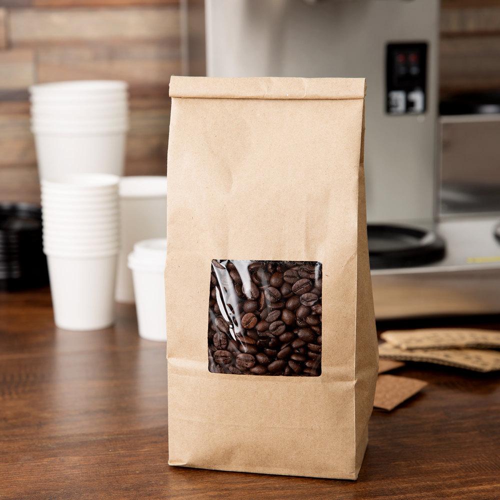 1 Lb Brown Kraft Customizable Tin Tie Coffee Bag With