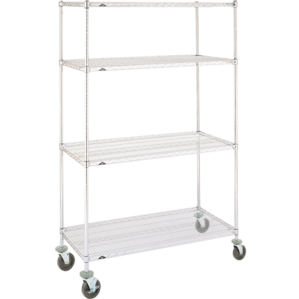 "Metro Super Erecta N366EC Chrome Mobile Wire Shelving Unit with Polyurethane Casters 18"" x 60"" x 69"""