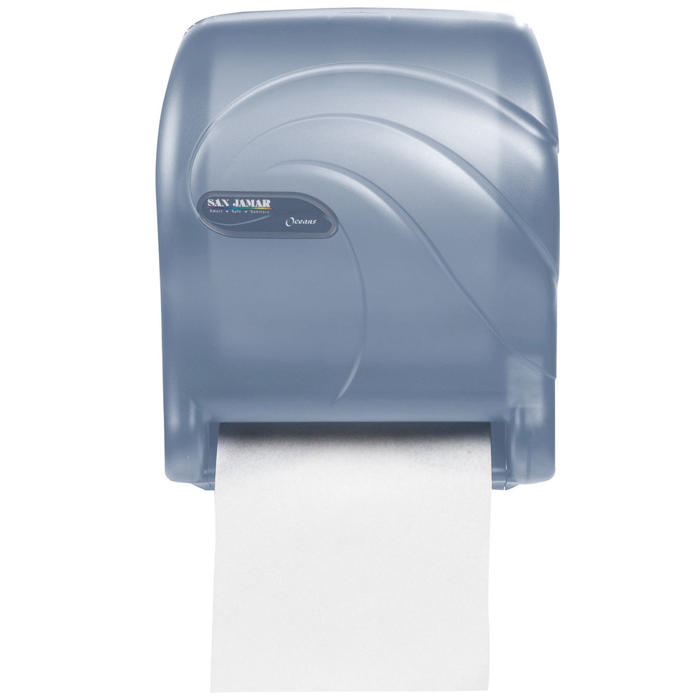 San Jamar T8090TBL Oceans Essence Hands Free Paper Towel Dispenser - Arctic Blue