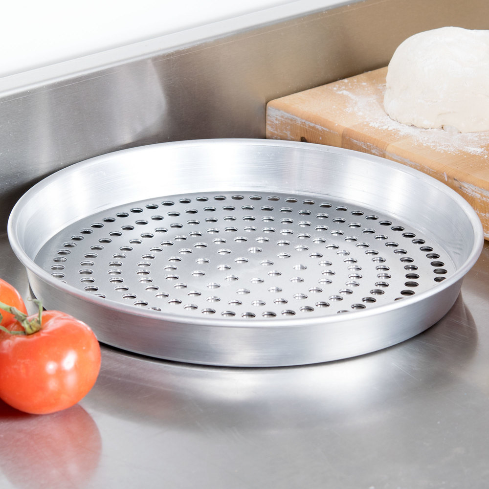"American Metalcraft HA90121.5SP 12"" x 1 1/2"" Super Perforated Heavy Weight Aluminum Tapered / Nesting Pizza Pan"