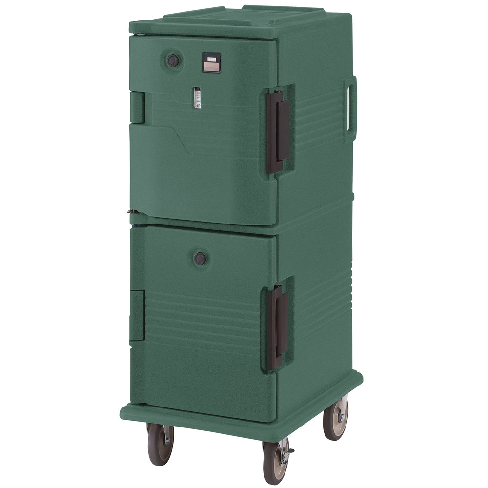Cambro UPCHT800192 Granite Green Ultra Camcart Two Compartment Heated Holding Pan Carrier with Casters, Top Compartment Heated - 110V