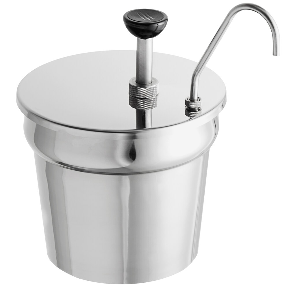 Carnival King CP7KIT 7 Qt. Stainless Steel Condiment Pump with Inset