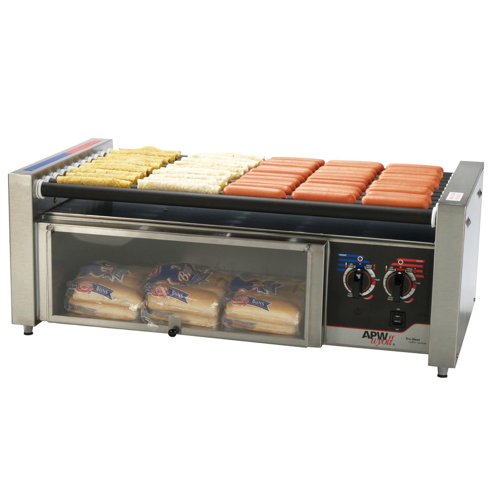 "APW Wyott HRS-50BW 35"" Hot Dog Roller Grill with Tru-Turn Rollers and Bun Drawer - 120V"