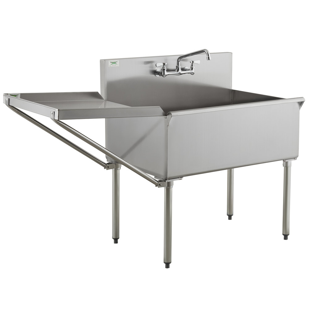 Regency 36 inch 16-Gauge Stainless Steel One Compartment Commercial Utility Sink with Faucet and 24 inch Drainboard - 36 inch x 24 inch x 14 inch Bowl