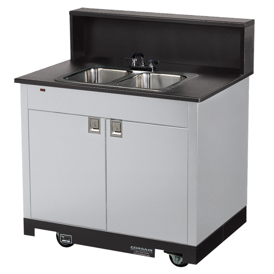 Vollrath 75672 SILVER Portable Double Bowl Hand Sink Cart 120V
