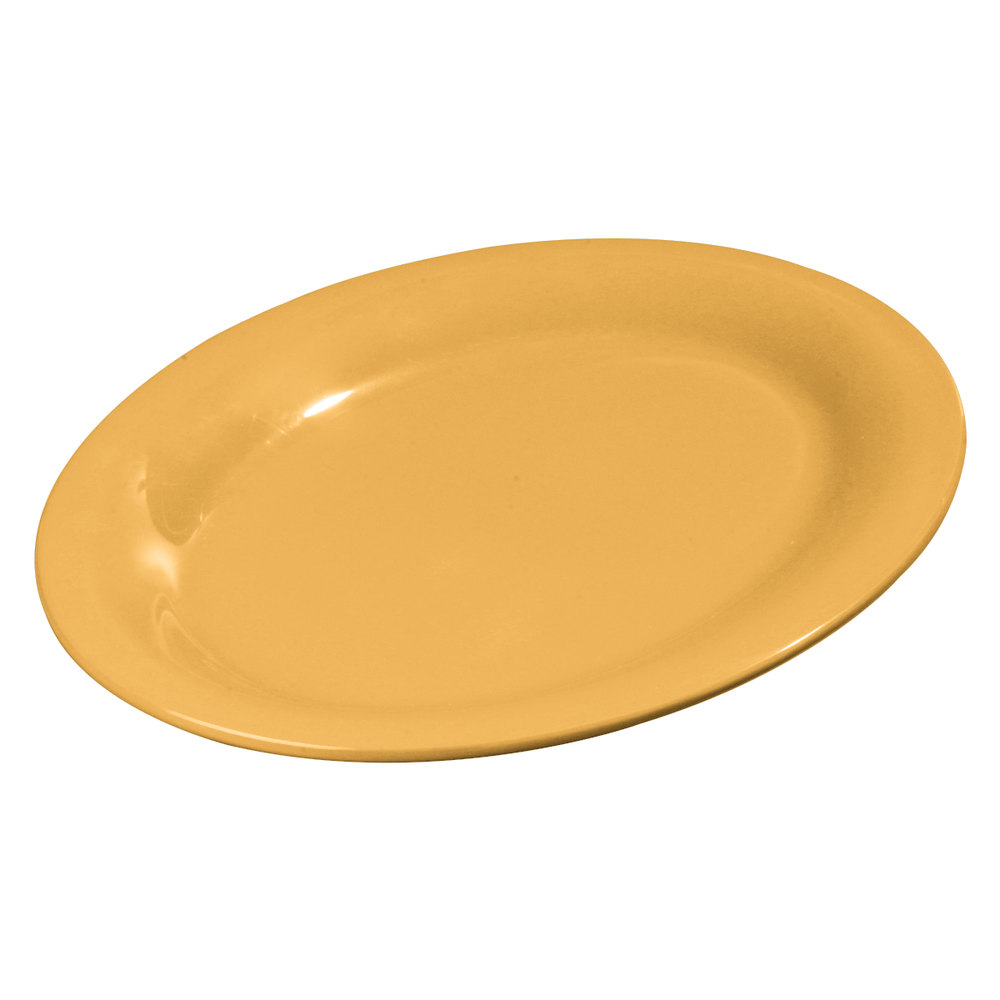 "Carlisle 3308222 Sierrus 12"" x 9 1/4"" Honey Yellow Oval Melamine Platter - 12/Case"