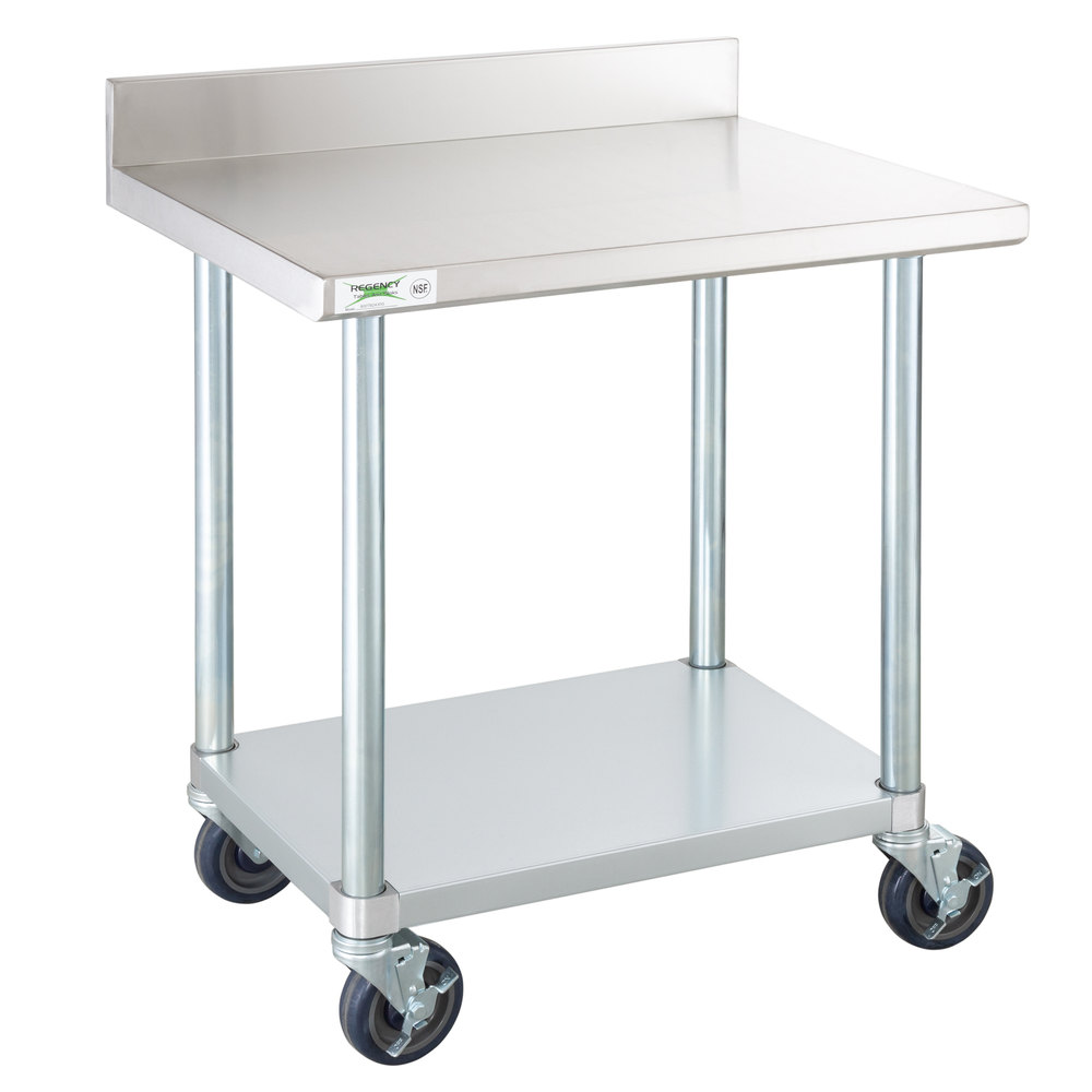 Regency 24 inch x 30 inch 18-Gauge 304 Stainless Steel Commercial Work Table with 4 inch Backsplash, Galvanized Legs, Undershelf, and Casters