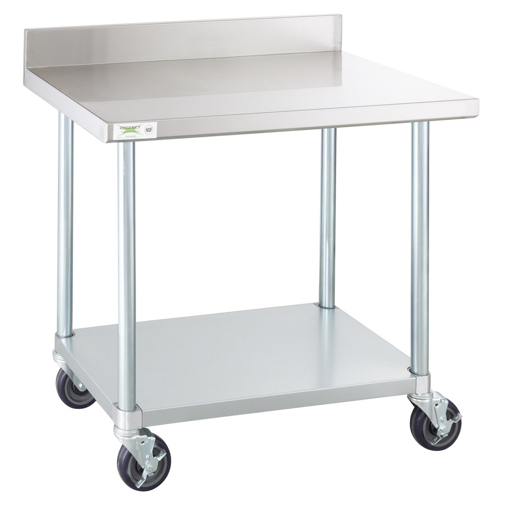 Regency 24 inch x 36 inch 18-Gauge 304 Stainless Steel Commercial Work Table with 4 inch Backsplash, Galvanized Legs, Undershelf, and Casters