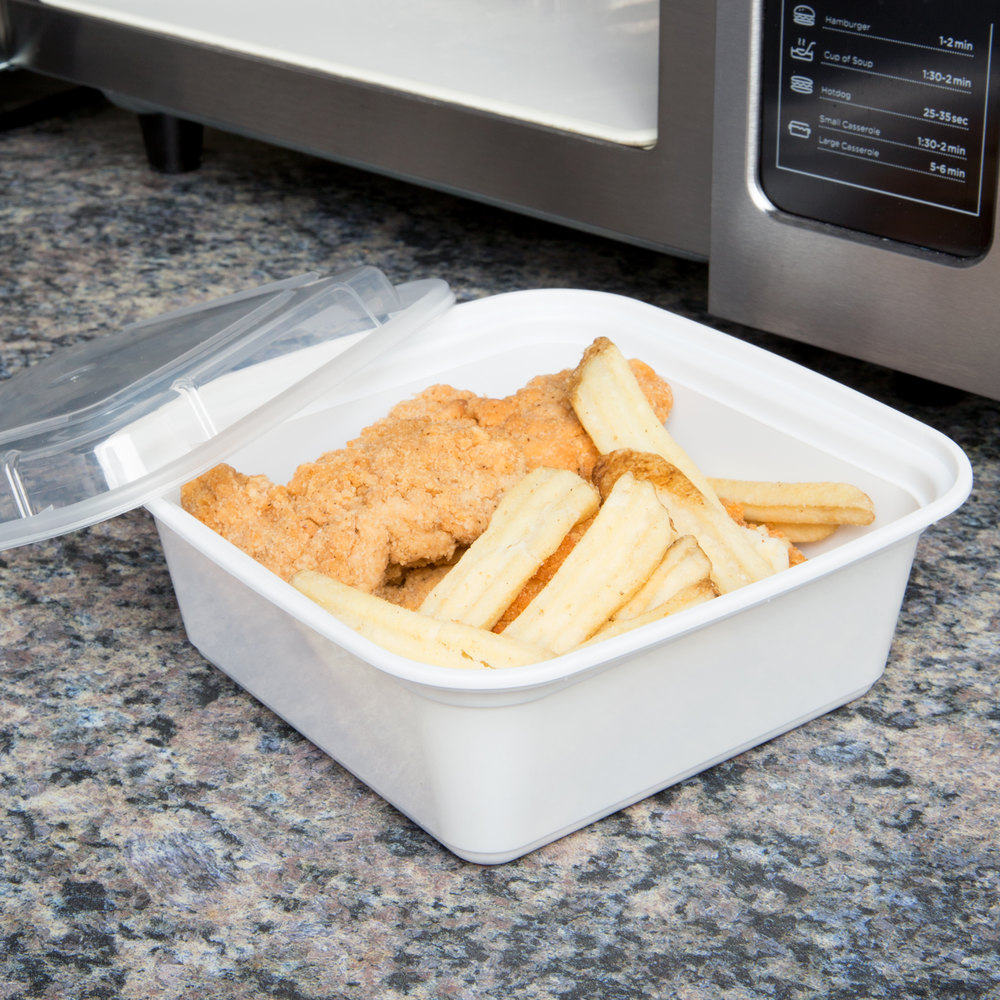"Newspring NC-636 36 oz. White 6 3/4"" x 6 3/4"" x 2 5/8"" VERSAtainer Square Microwavable Container with Lid - 150/Case"