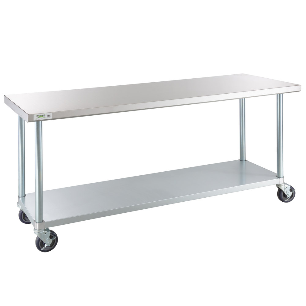 Regency 24 inch x 72 inch 18-Gauge 304 Stainless Steel Commercial Work Table with Galvanized Legs, Undershelf, and Casters