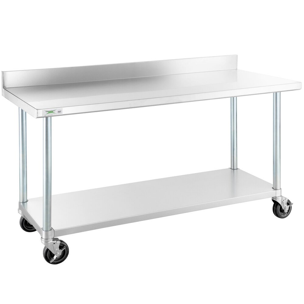 Regency 24 inch x 60 inch 18-Gauge 304 Stainless Steel Commercial Work Table with 4 inch Backsplash, Galvanized Legs, Undershelf, and Casters