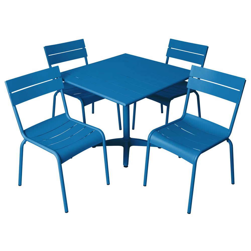 Magnificent Bfm Seating Yk B32By Beachcomber 32 Square Berry Aluminum Outdoor Table With 4 Chairs Theyellowbook Wood Chair Design Ideas Theyellowbookinfo