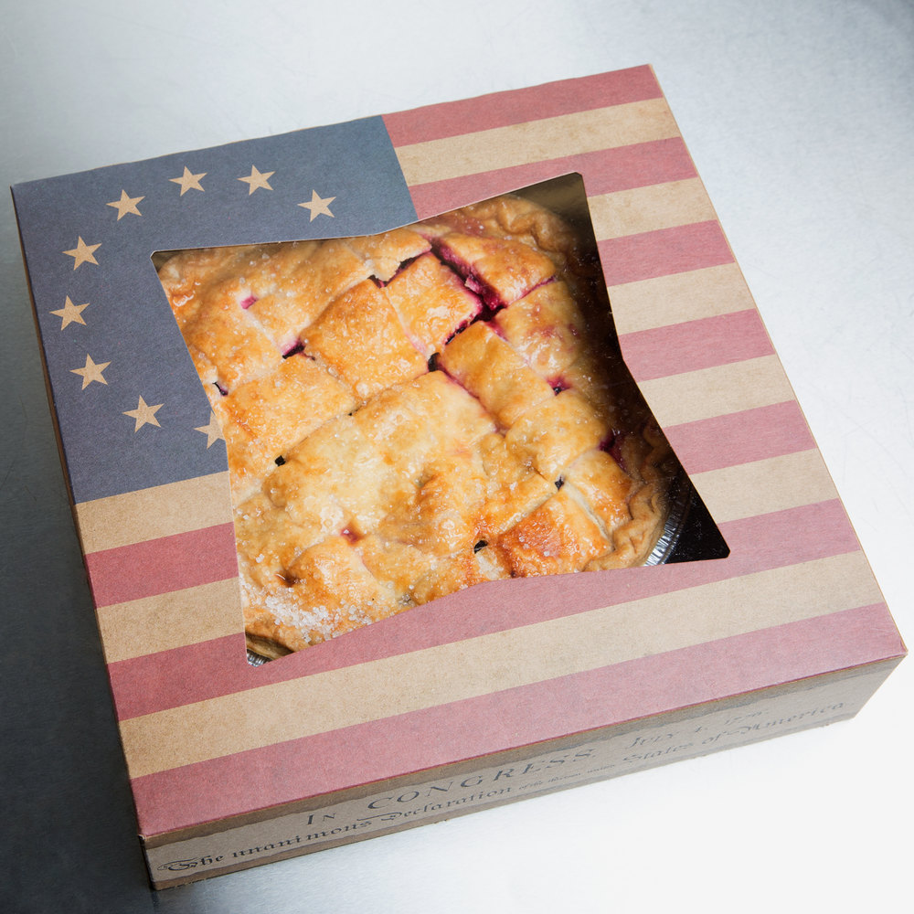 "Southern Champion 2484 10"" x 10"" x 2"" Window Cake / Bakery Box with Vintage American Flag / Declaration of Independence Design - 150/Bundle"