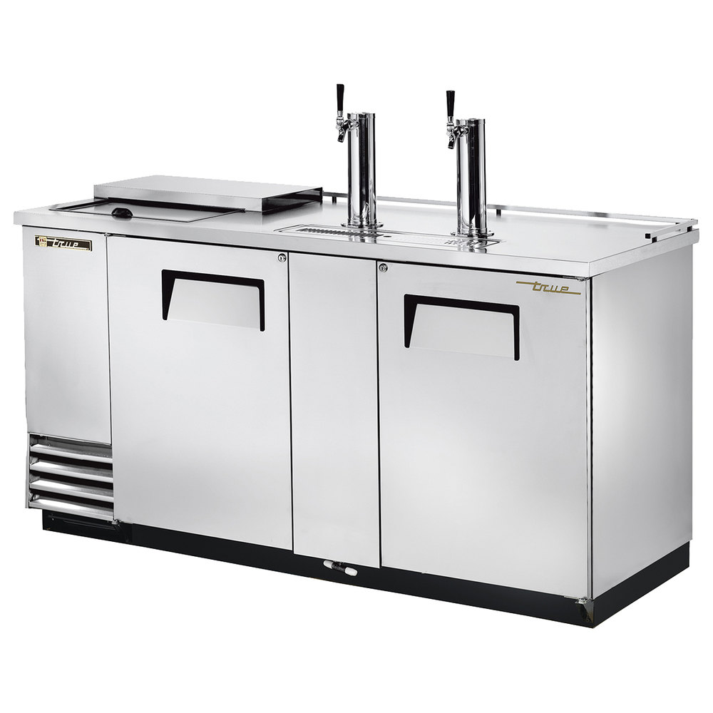 "True TDD-3CT-S 70"" Stainless Steel Three Keg Club Top Beer Dispenser with Two Taps"