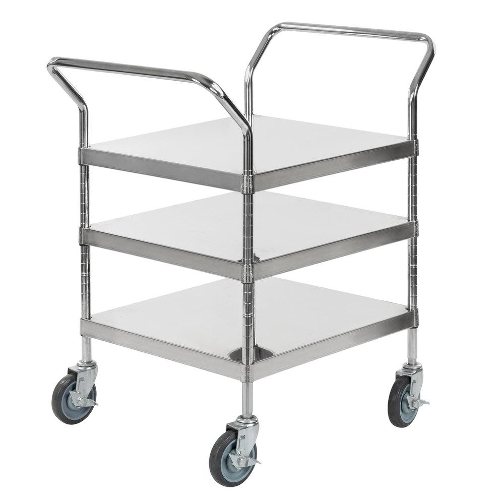 Regency Stainless Steel Three Shelf Utility Cart - 24 inch x 24 inch x 37 inch