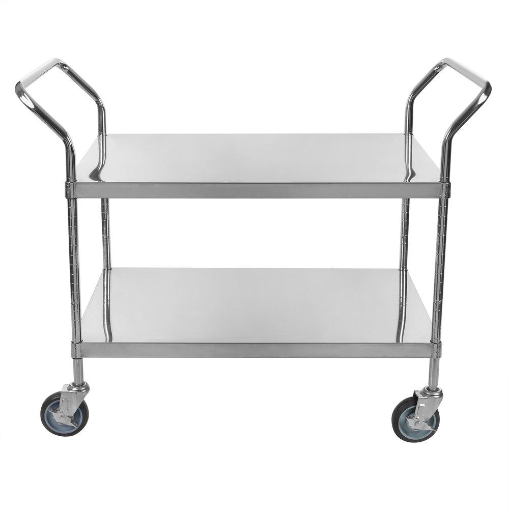 Regency Stainless Steel Two Shelf Utility Cart - 36 inch x 24 inch x 37 inch