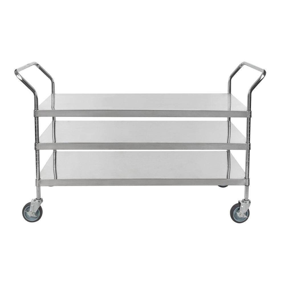 Regency Stainless Steel Three Shelf Utility Cart - 48 inch x 24 inch x 37 inch