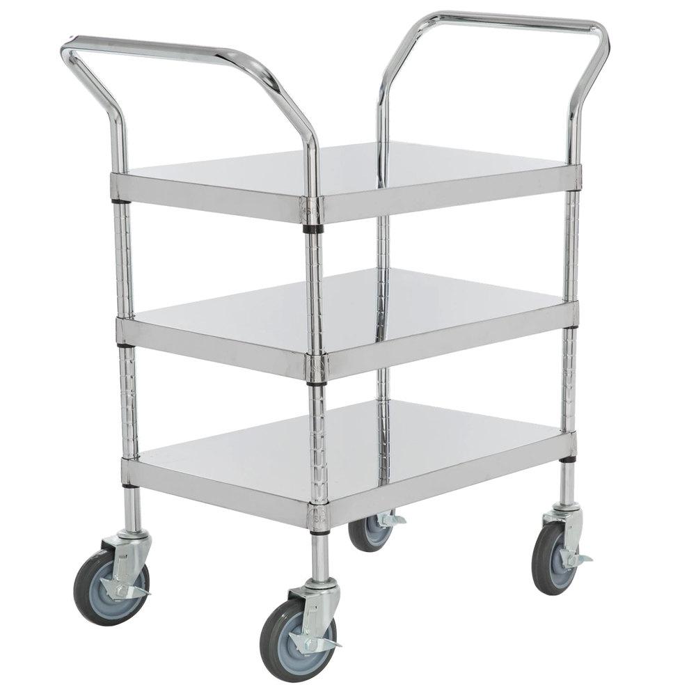 Regency Stainless Steel Three Shelf Utility Cart - 24 inch x 18 inch x 37 inch