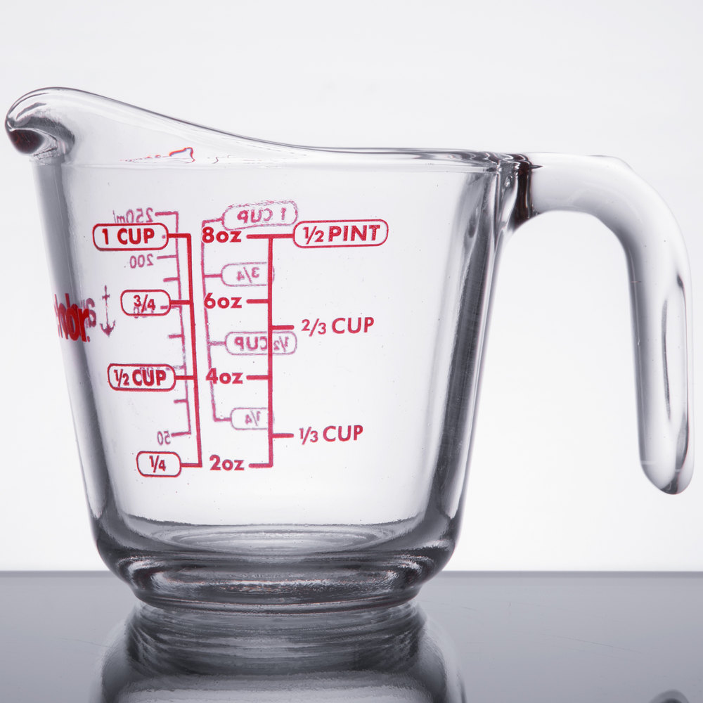 Anchor Hocking 55175ol13 8 Oz 1 Cup Glass Measuring Cup
