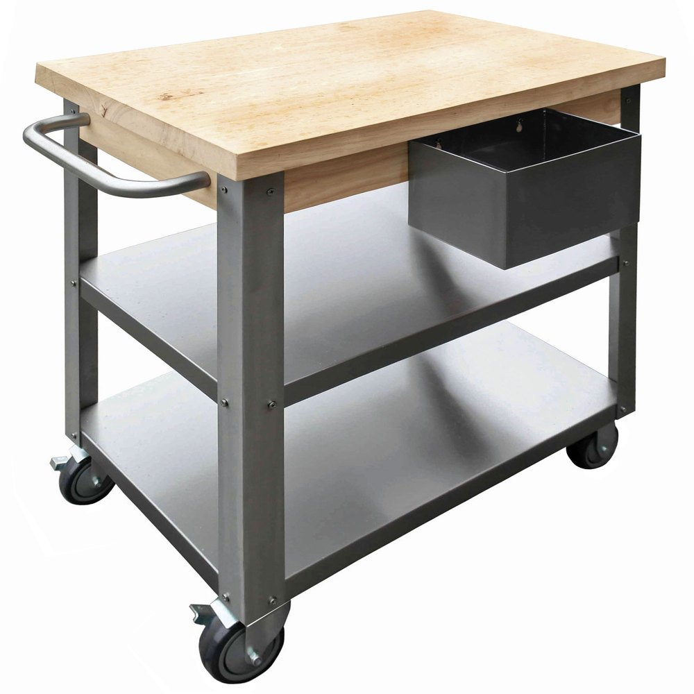 Maple Wood Top Work Table With Stainless Steel Base And