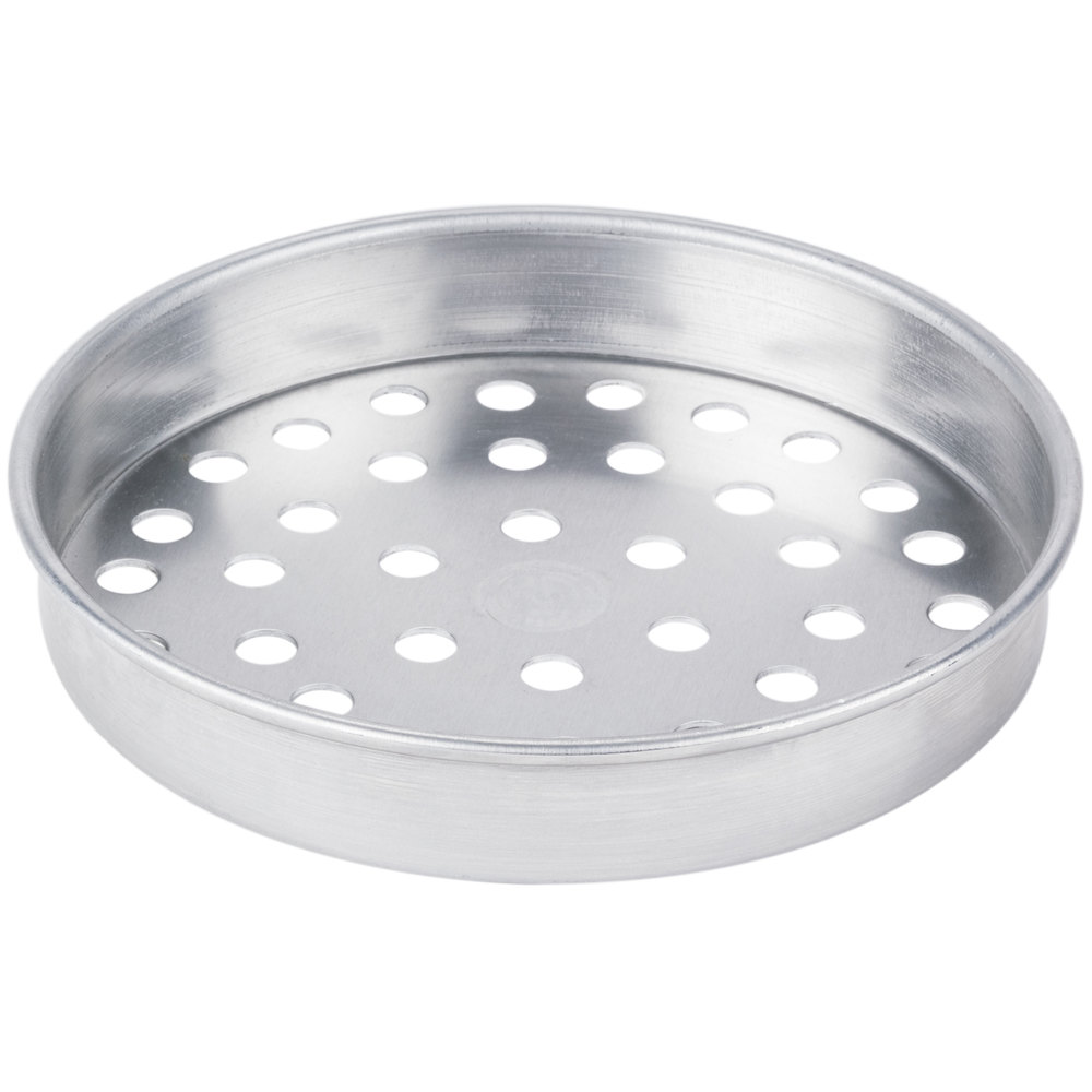 "American Metalcraft A4008SP 8"" x 1"" Super Perforated Standard Weight Aluminum Straight Sided Pizza Pan"
