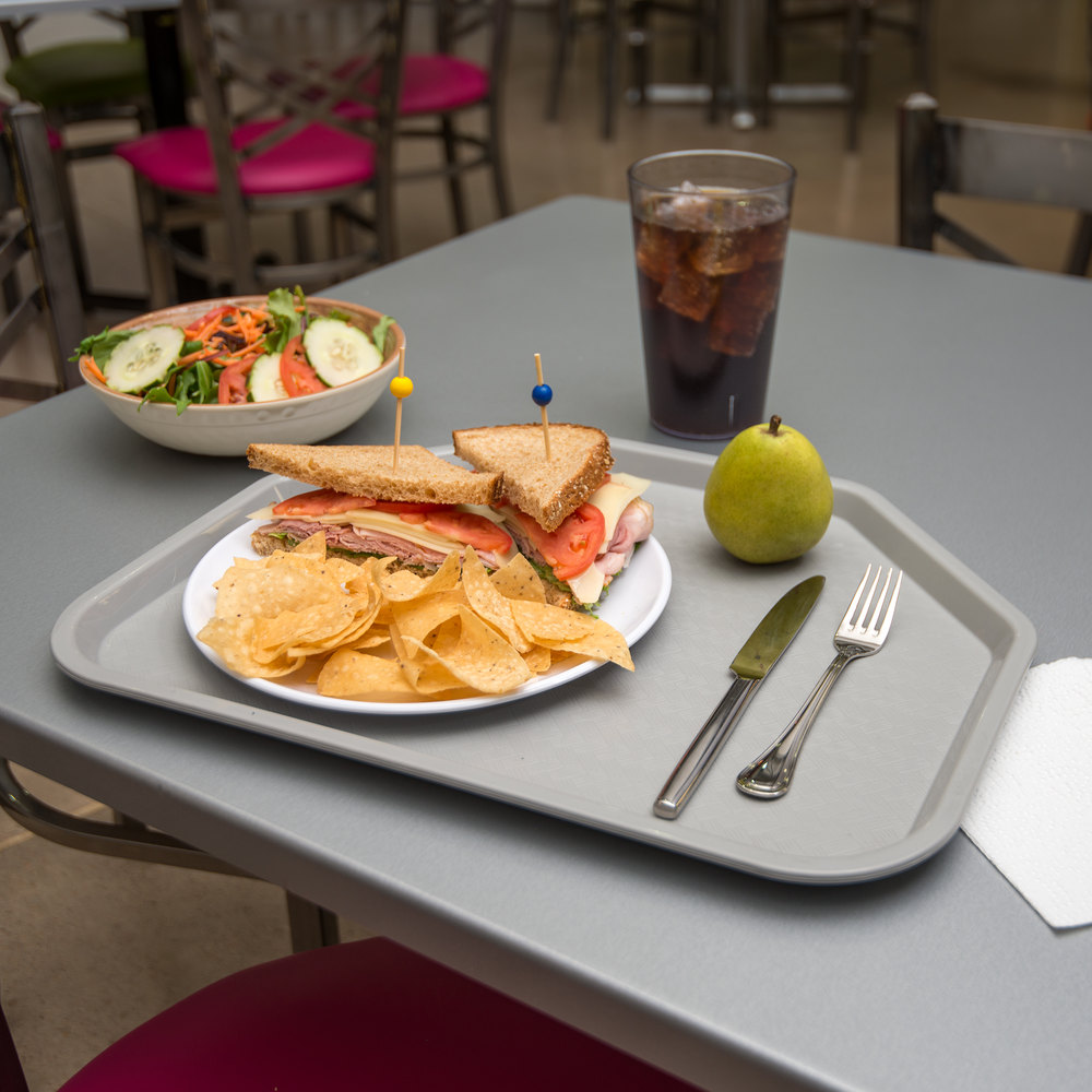 "Carlisle CT1713TR23 Customizable Cafe 14"" x 18"" Gray Trapezoid Plastic Fast Food Tray - 12/Case"