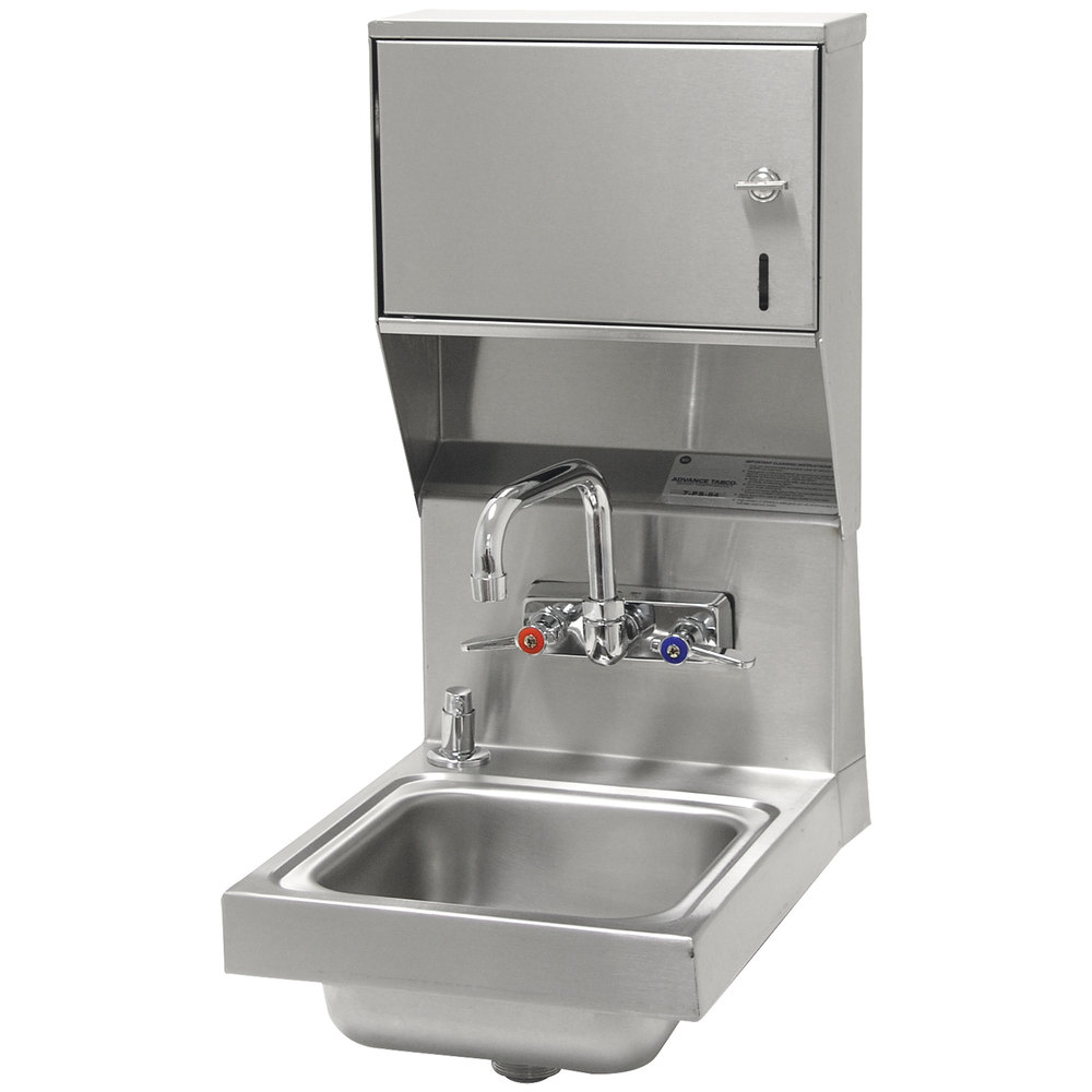 "Advance Tabco 7-PS-84 Super Saver Hand Sink with Splash Mount Faucet, Soap, and Paper Towel Dispenser - 12"" x 16"""