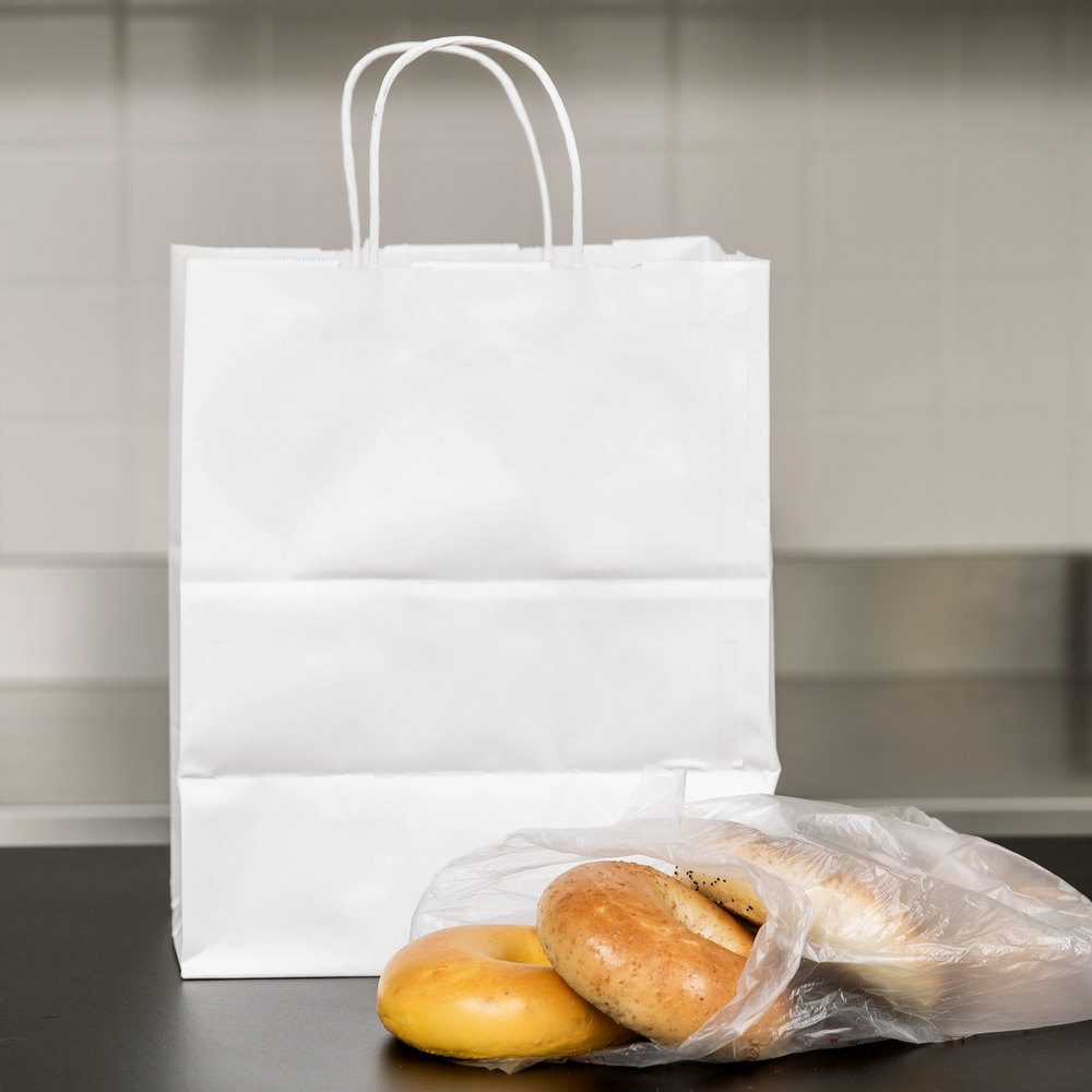 "Duro Bistro White Paper Shopping Bag with Handles 10"" x 6 3/4"" x 12"" - 250/Bundle"