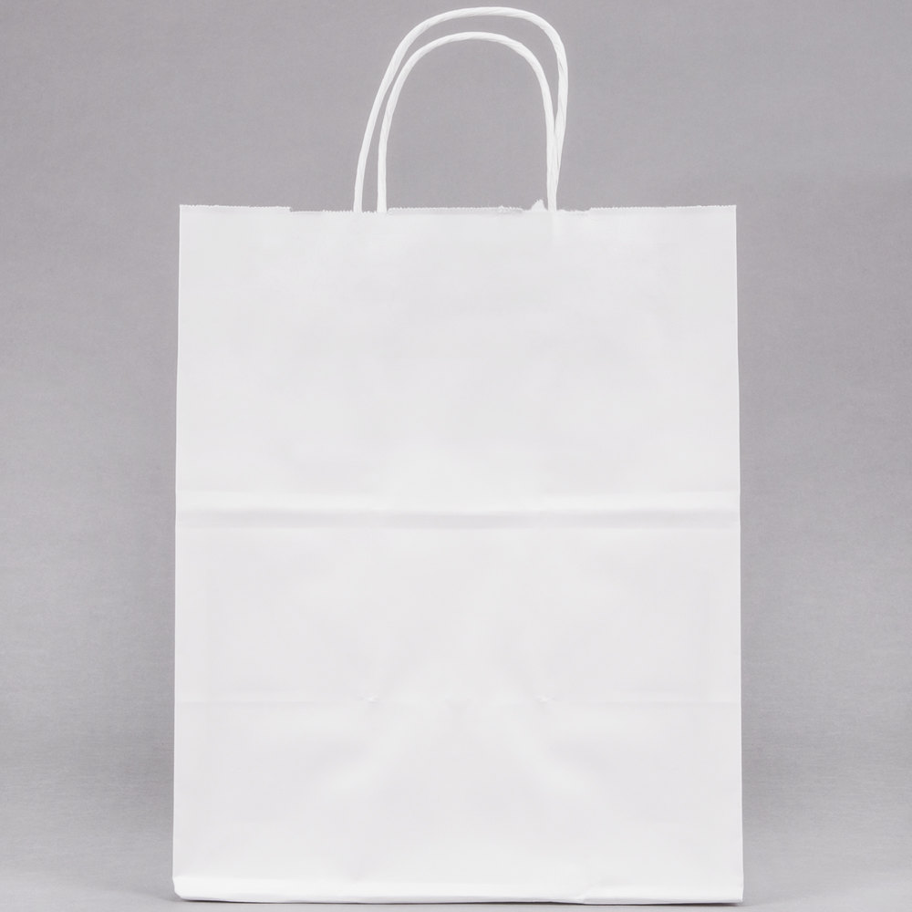 duro bistro white paper shopping bag with handles 10