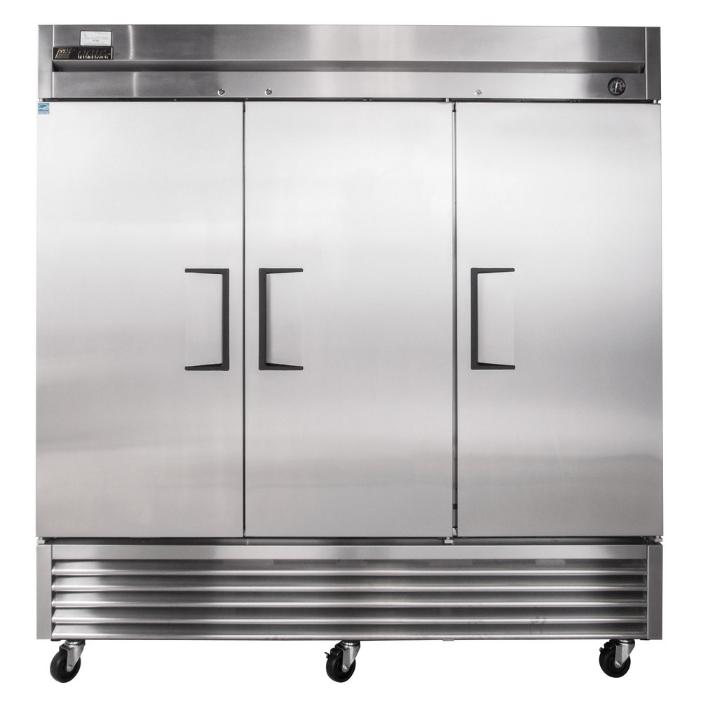 "True TS-72 78"" Stainless Steel Three Section Solid Door Reach in Refrigerator - 72 Cu. Ft."