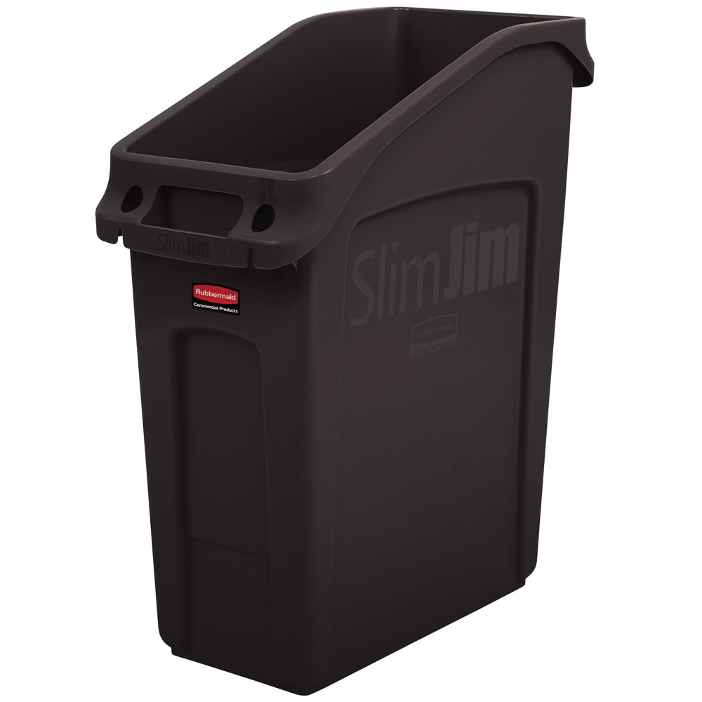 rubbermaid 2026697 13 gallon slim jim under counter brown trash can. Black Bedroom Furniture Sets. Home Design Ideas