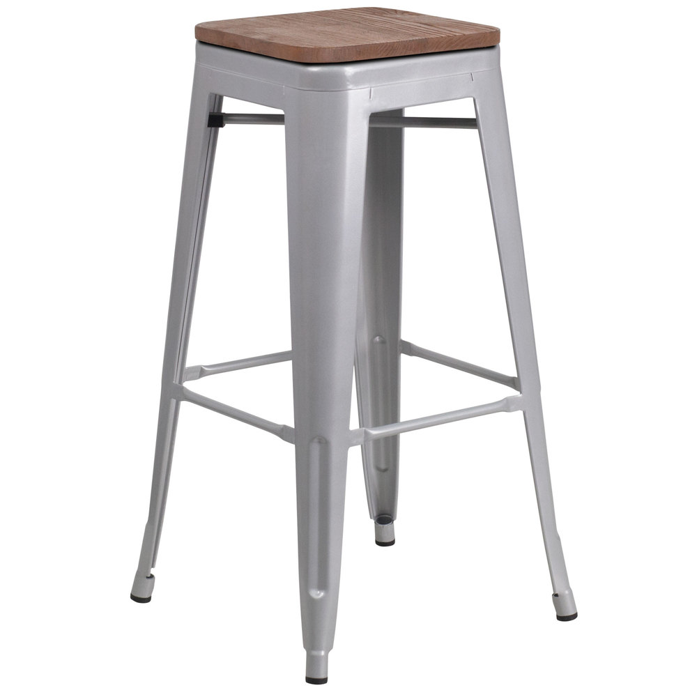 Prime Flash Furniture Ch 31320 30 Sil Wd Gg 30 Silver Stackable Metal Backless Bar Height Stool With Square Wood Seat Creativecarmelina Interior Chair Design Creativecarmelinacom