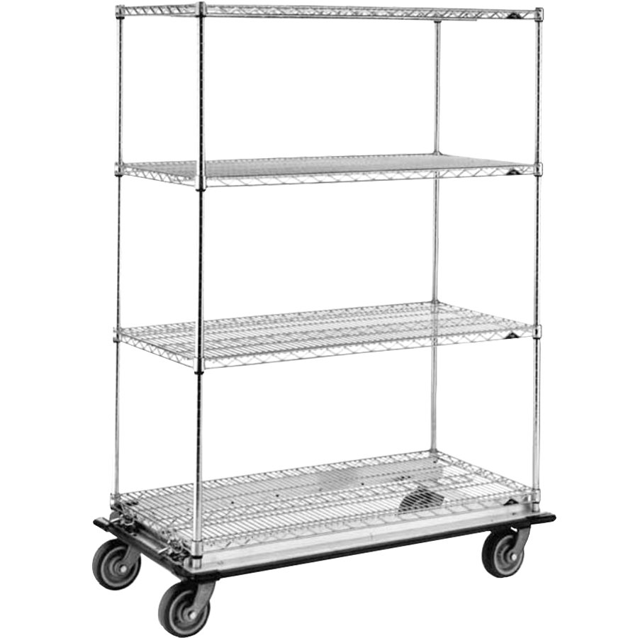 "Metro Super Erecta N566LC Chrome Mobile Wire Shelving Truck with Polyurethane Casters 24"" x 60"" x 69"""