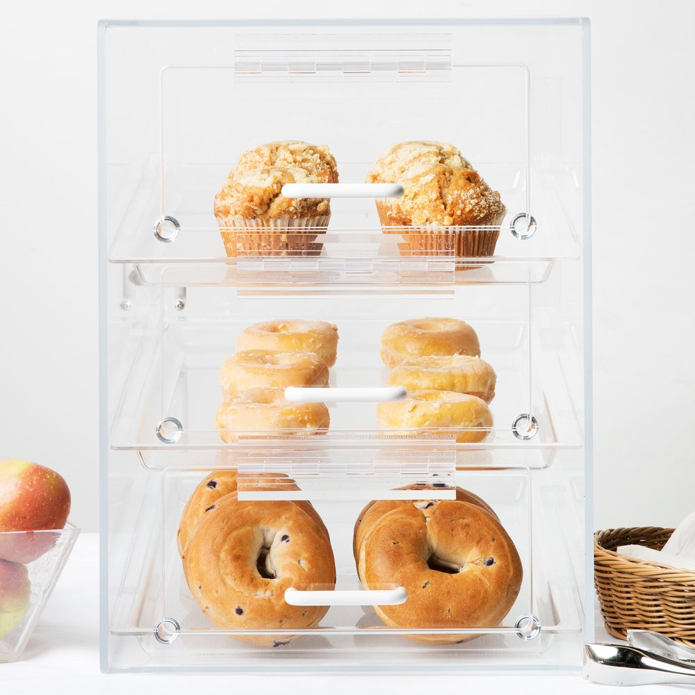 "Cal-Mil 124 Classic Three Tier Front Access Pastry Display Case - 13 1/2"" x 20"" x 18"""