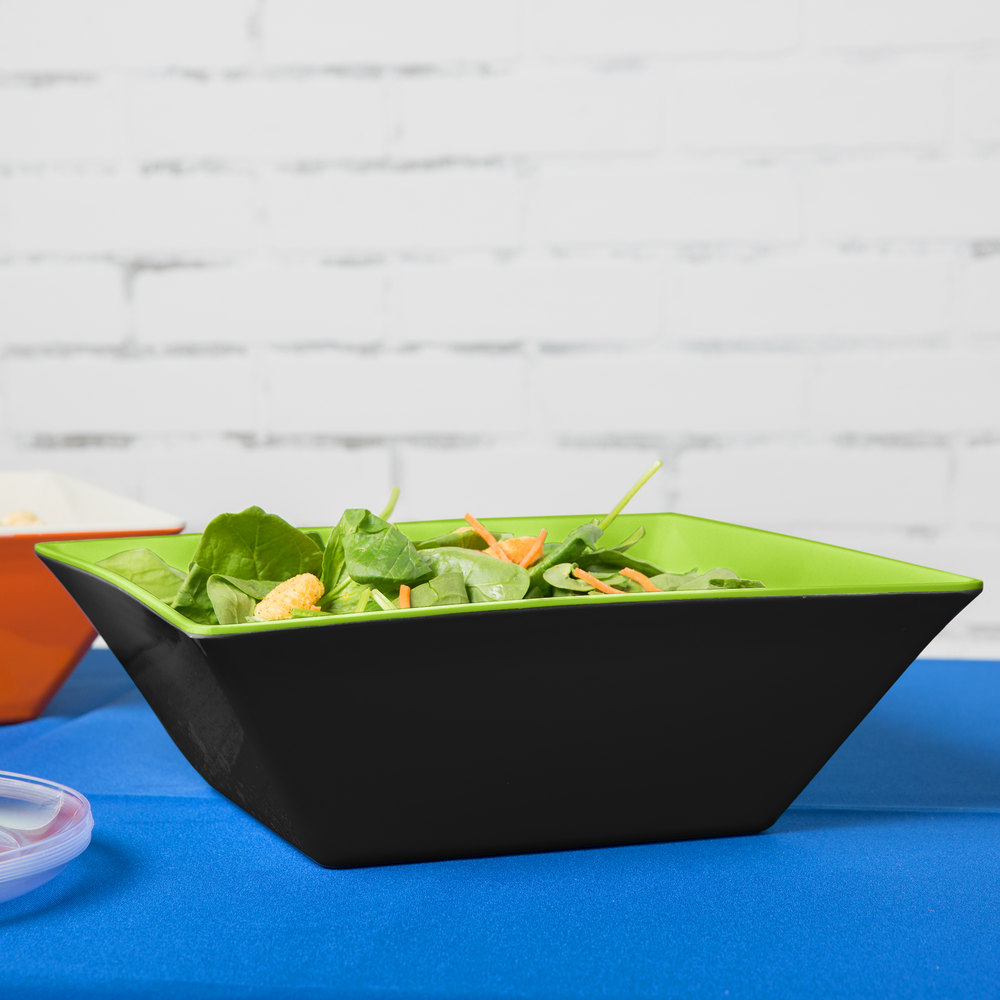 GET ML-248-G/BK Brasilia 5.7 Qt. Green and Black Square Melamine Bowl - 3/Case
