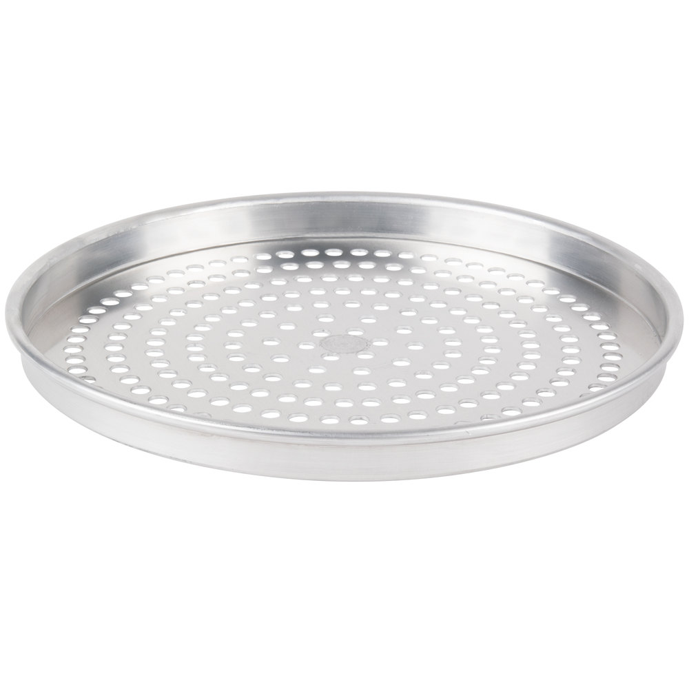 "American Metalcraft HA4014SP 14"" x 1"" Super Perforated Heavy Weight Aluminum Straight Sided Pizza Pan"