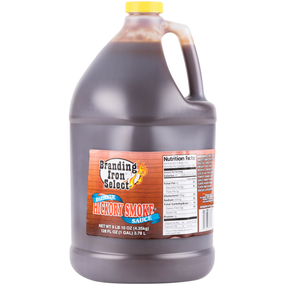 Branding Iron 1 Gallon Select Hickory Barbecue Sauce - 4/Case