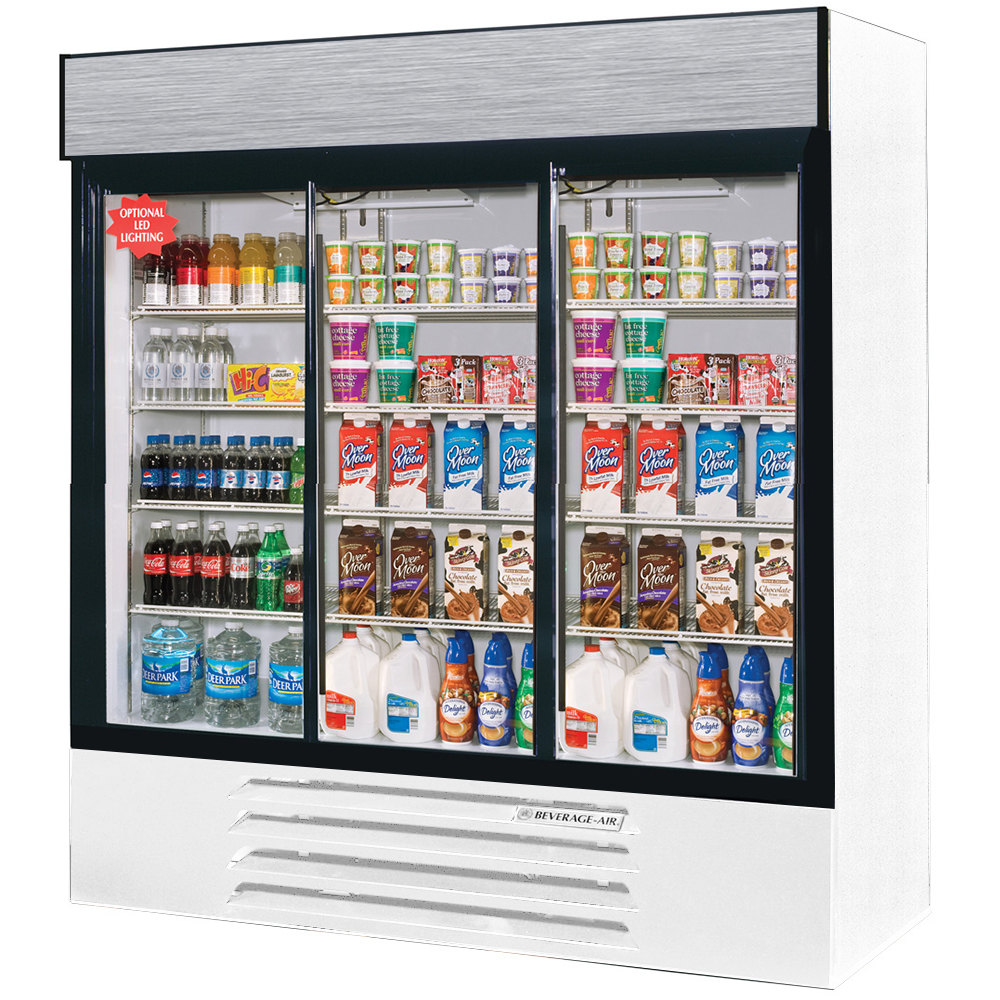 "Beverage Air LV66Y-1-W-LED LumaVue 75"" Three Section Glass Door White Merchandising Refrigerator with LED Lighting- 70 Cu. Ft."