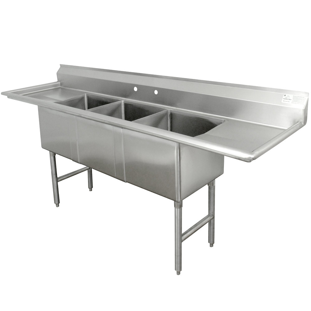 Advance Tabco Fc 3 1824 18rl Three Compartment Stainless Steel Commercial Sink With Two