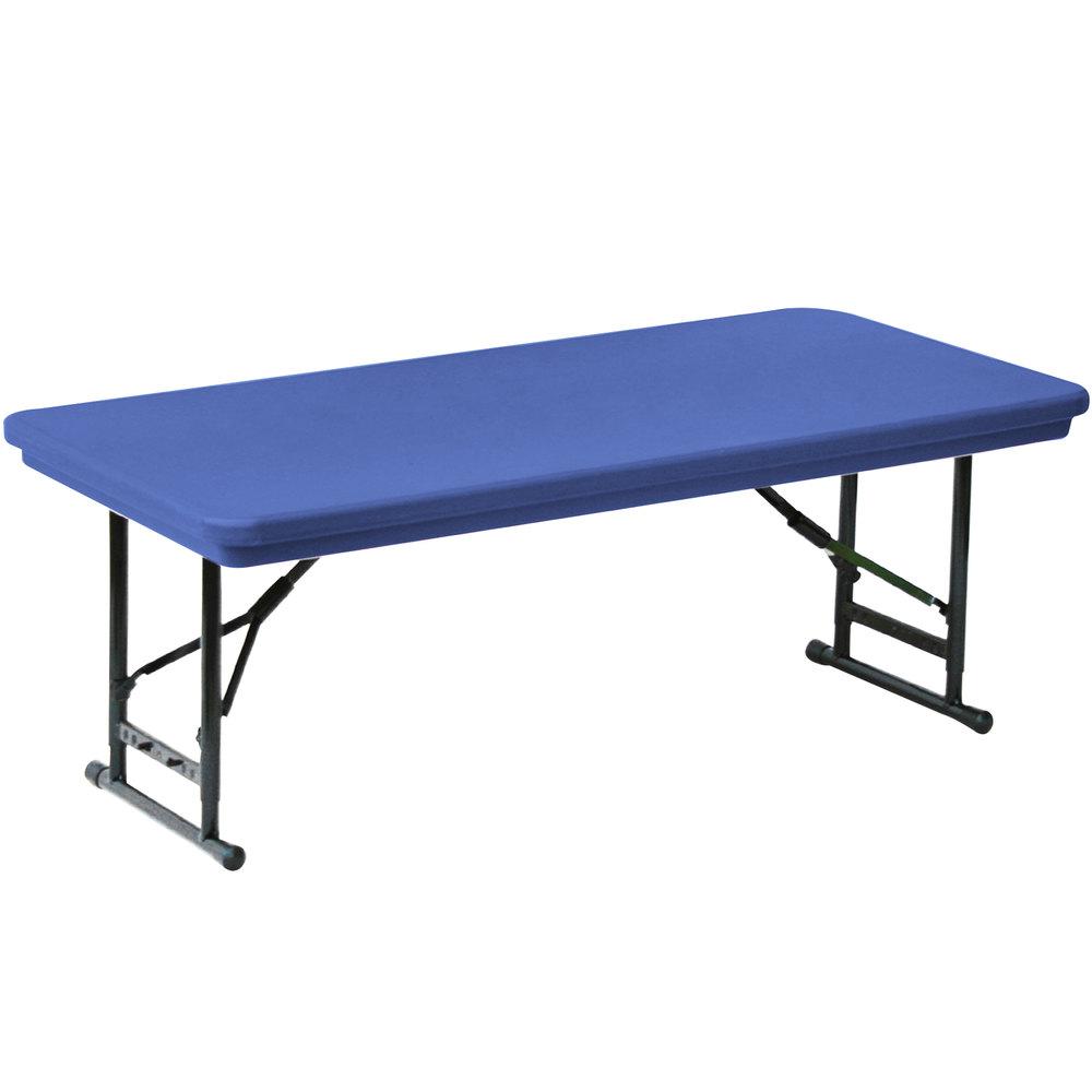 "Correll Adjustable Height Folding Table 30"" x 72"" Plastic Blue"
