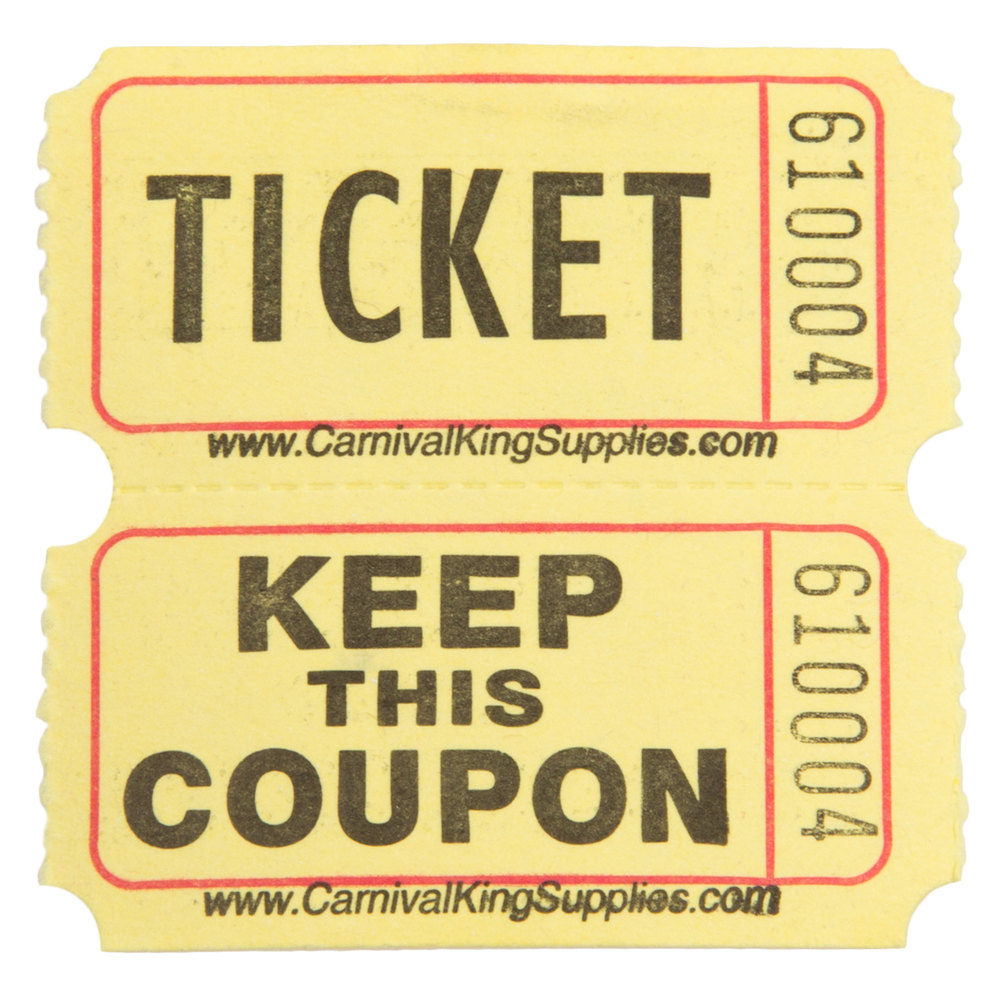 carnival king yellow 2 part raffle tickets 2000 roll